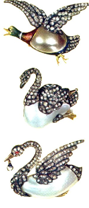 Pearl and Enamel Swan Brooches in the Swimming and Flying Postures