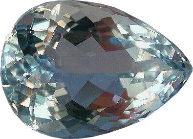 Close Up View of a Pear Cut Aquamarine Gemstone