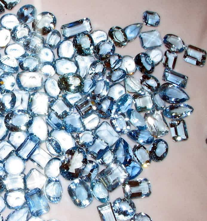 A collection of high quality Aquamarine Gemstones with different types of cuts