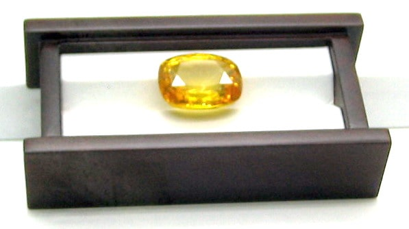 A Large Cushion Cut Yellow Sapphire Gemstone from Sri Lanka