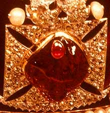The Black Prince's Ruby Mounted on the Imperial State Crown of Britain