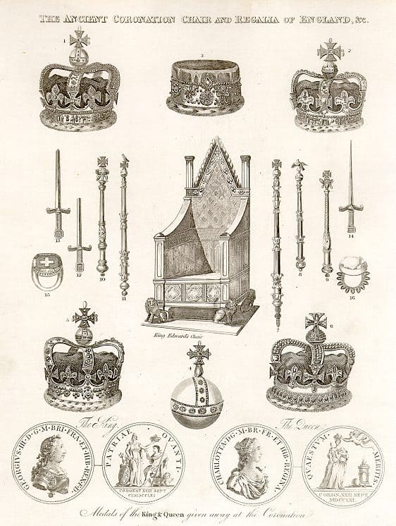 Drawings of the British Coronation Regalia