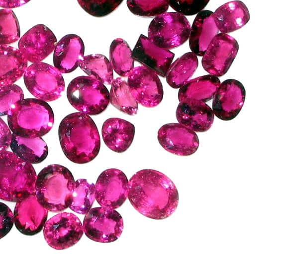 A Large collection of different types of cuts of Red(Rubellite Tourmalines)