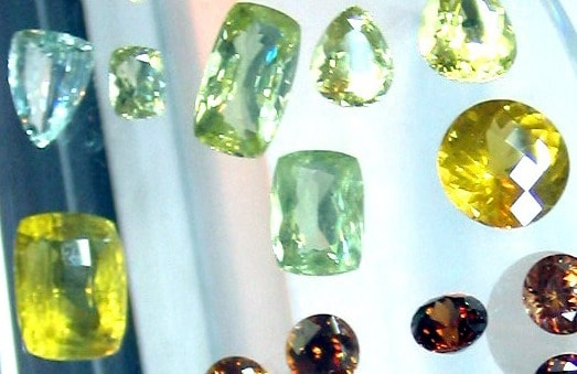 Ceylon (Sri Lanka) Zircons of different colours and cuts