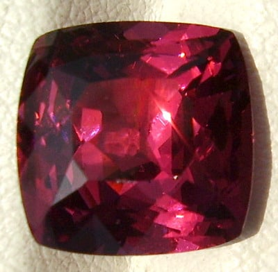 A Square Cut Rhodolite Garnet from Tanzania