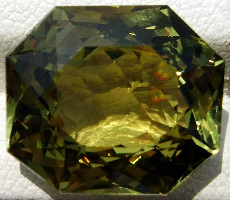 Octagon Cut Yellowish Green Ceylon Chrysoberyl