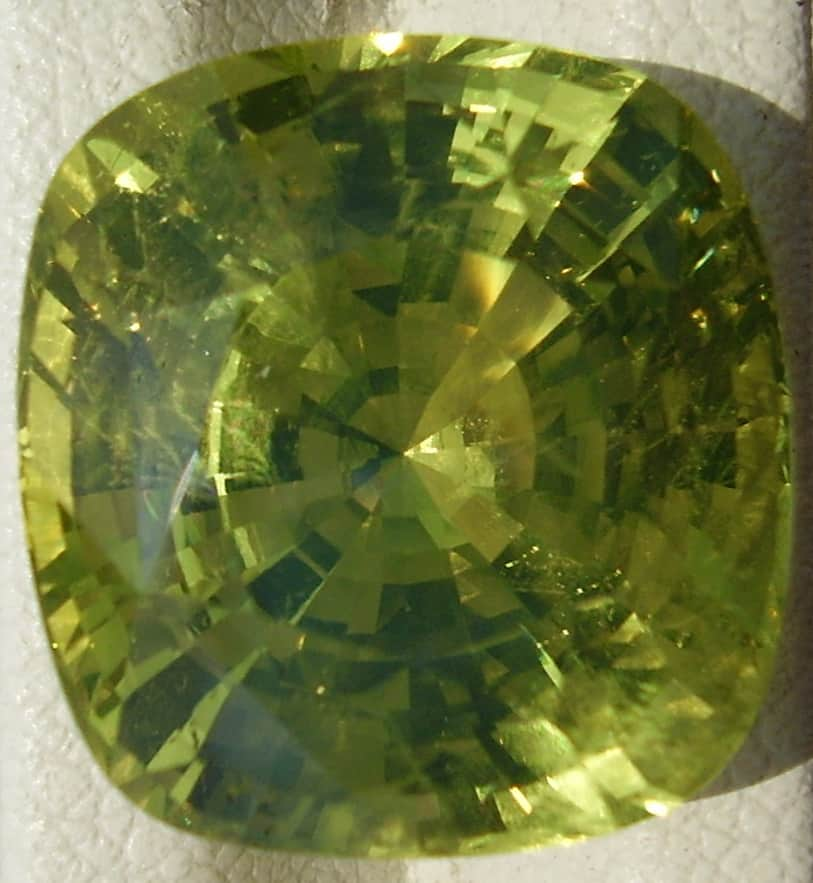 Square cut yellow chrysoberyl