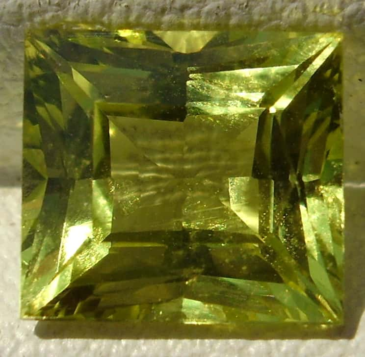 Square cut yellow Ceylon chrysoberyl