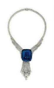 The Blue Belle of Asia mounted as the centerpiece of a spectacular diamond necklace