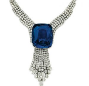 Blue Belle of Asia with diamond with diamond tassel pendant suspended from it