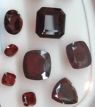 Alamandine Garnet Faceted Gemstones