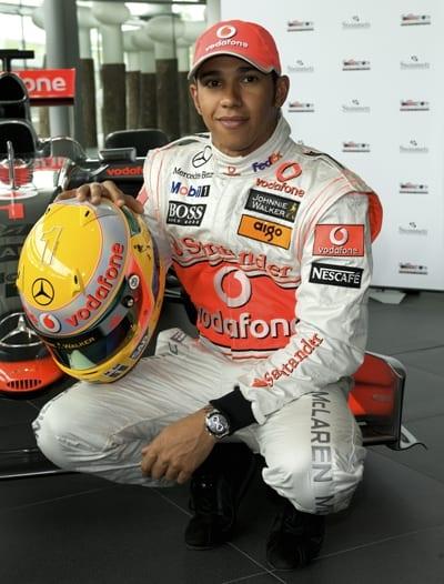 Lewis Hamilton Holding His Steinmetz Diamond Studded Helmet for the Grand Prix 2009
