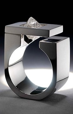 Tip Of The Iceberg Ring. Uncut 2.78 carat octahedral diamond from the Ekati mine (Northwest Territories) set in Palladium