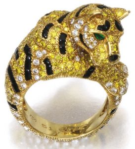 Lot 239 - A Gemset and Diamond Ring - Great Cat - by Cartier