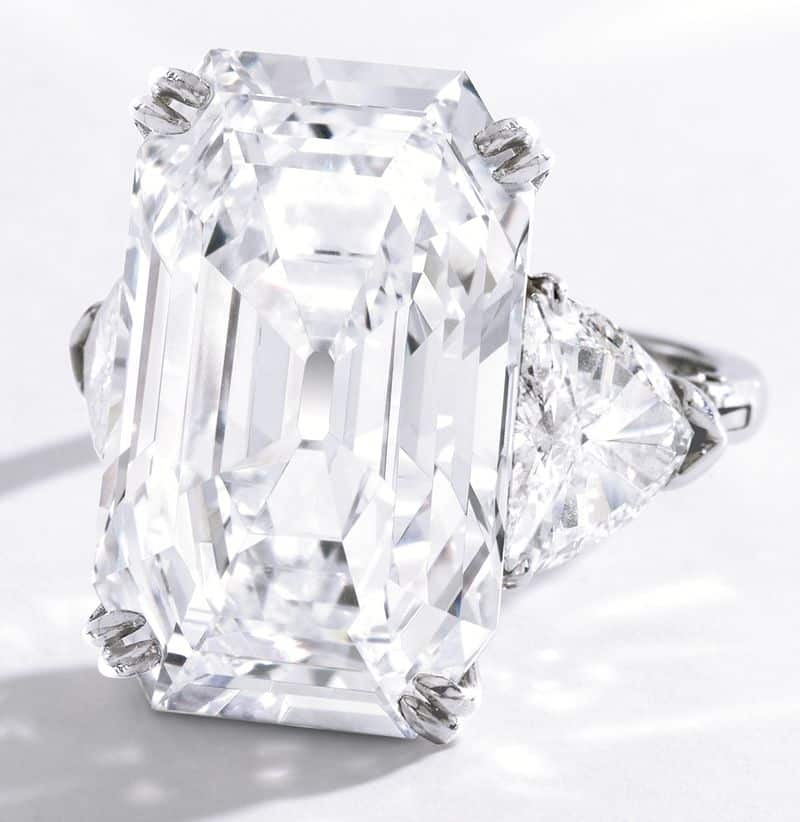 Platinum and Diamond Ring with the 19.51-carat, Emerald-cut, Colorless Diamond as Centerpiece