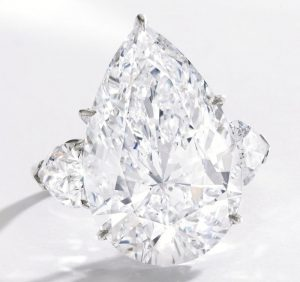 Platinum and Diamond Ring with 15.10-carat, pear-shaped, colorless diamond as centerpiece