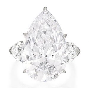 Another view of the Platinum and Diamond Ring with the pear-shaped, 15.10-carat, colorless diamond as centerpiece