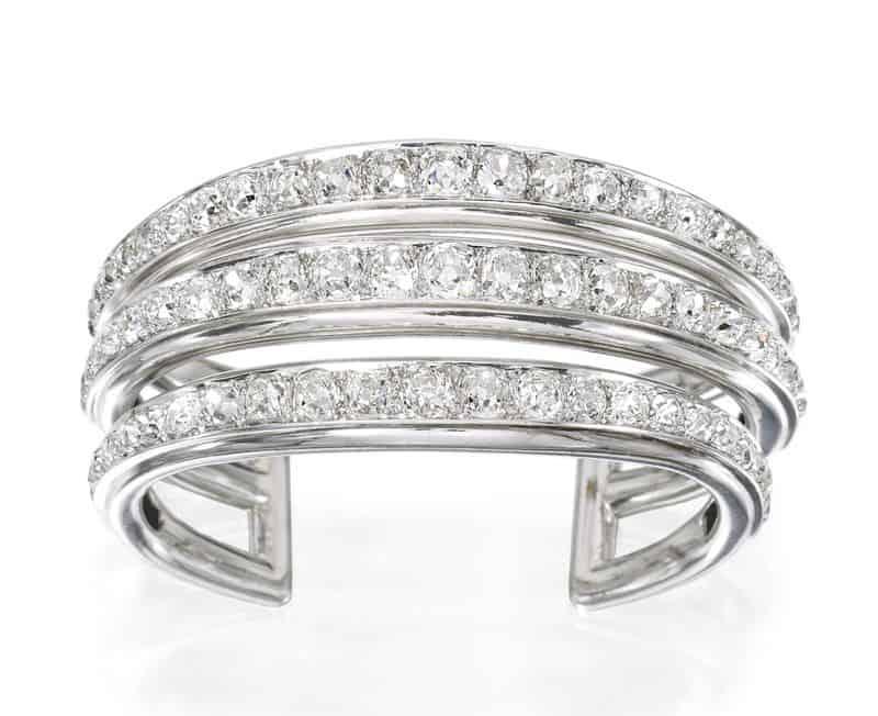 Platinum, Palladium and Diamond Triple Band Bracelet by Suzanne Belperron