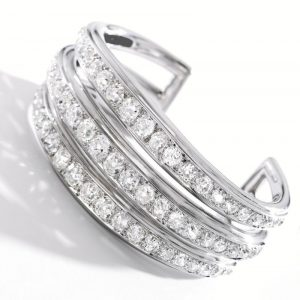 Another view of the Platinum, Palladium and Diamond Triple Band Bracelet