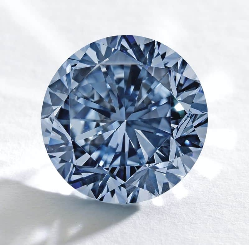 Front view of unmounted Premier Blue diamond