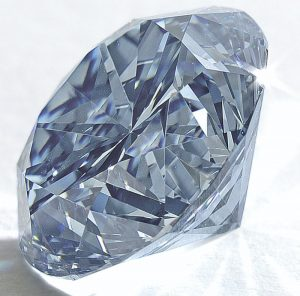 Side view of unmounted Premier Blue diamond