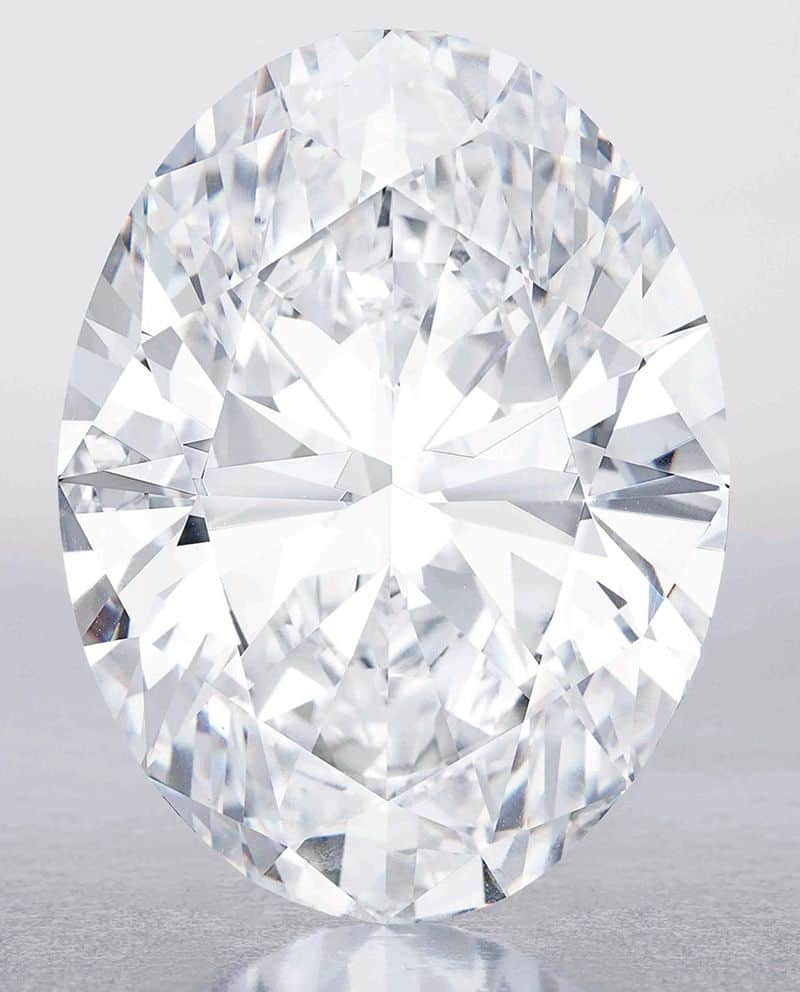 Front view of the 118.28-carat, oval brilliant-cut, D-color, flawless diamond