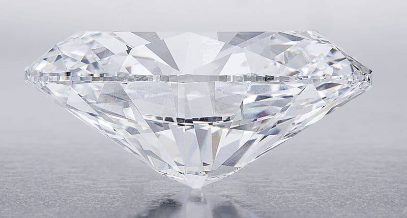 Side view of 118.28-carat, oval brilliant-cut, D-color, flawless diamond