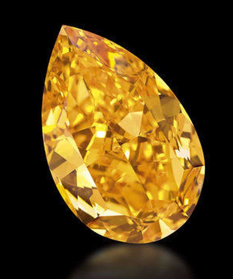 14.82-carat, pear-shaped,  fancy vivid-orange diamond