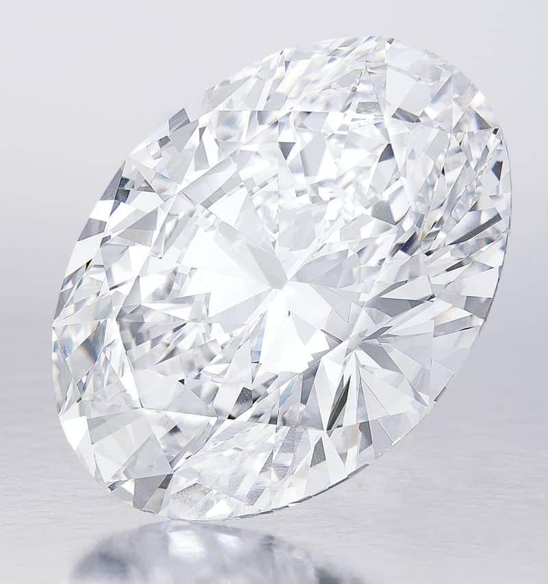 118.28-carat, D-color, Flawless, Oval brilliant-cut diamond
