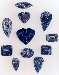 Eleven blue diamonds from De Beers Millennium Collection, all sourced from Cullinan Mine