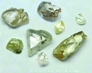 Some diamonds from BLK14 bulk sample recovered at Lulo