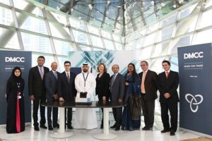 GIA president Susan Jacques and vice-president Tom Moses with Ahmed Bin Sulayem executive chairman of DMCC, Peter Meeus, chairman of the DDE and other officials at the formal ceremony to present the DiamondCheck machine to DDE