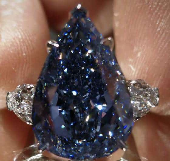 13.22-carat, pear-shaped, flawless, fancy vivid blue, Perfect Blue Diamond