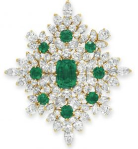 Lot 225 - An Historic Emerald and Diamond Brooch by Van Cleef & Arpels