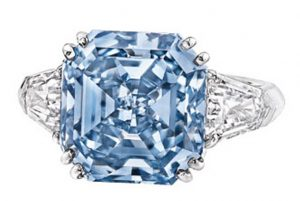 8.01-carat, emerald-cut, fancy vivid blue diamond - second highest record holder    for price-per-carat for a fancy vivid blue diamond