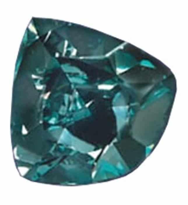 Trilliant-cut, fancy vivid blue-green Ocean Dream diamond