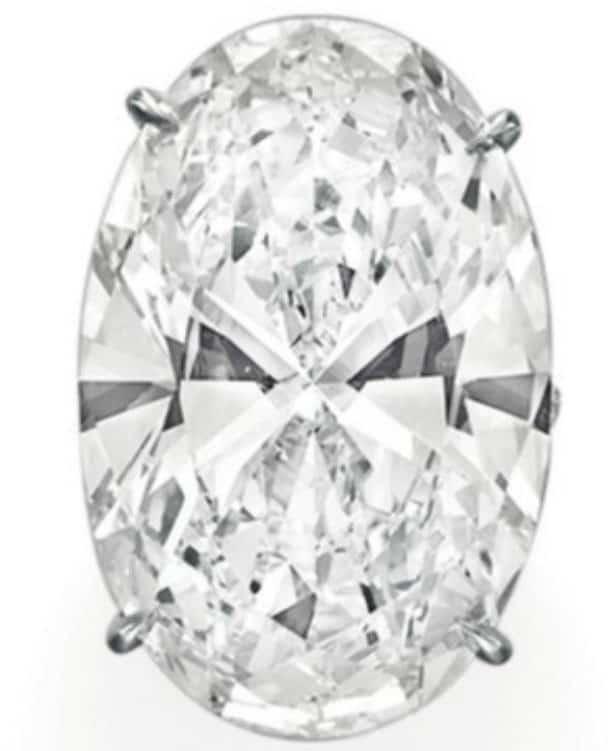 Lot 107 - Spectacular Diamond Ring-- incorporating an oval-cut, 40.43-carat, D-color, Type IIa, VVS1-clarity diamond as its centerpiece