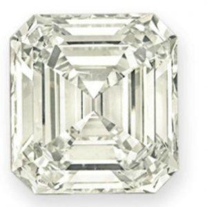 Lot 219 - Diamond ring set with a 42.96-carat, L-color, rectangular-cut diamond