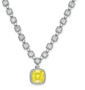 Lot 211 - Important Colored Diamond and Diamond Pendant Necklace by Tiffany