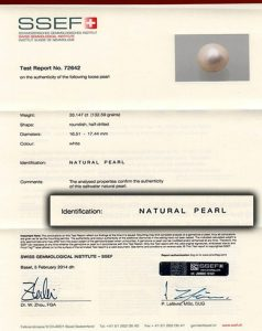 SSEF-report-on-33.147-carat-natural-pearl