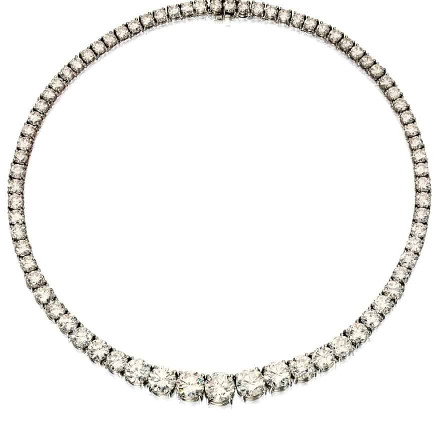 Lot 434 - Platinum and Diamond Riviere Necklace