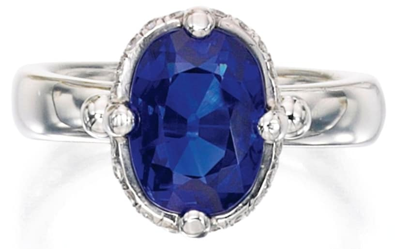 Lot 406 - Platinum, Kashmir Sapphire and Diamond Ring