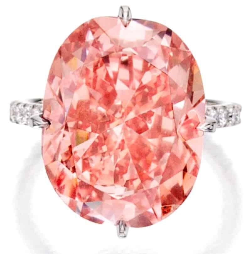 Lot 207 - 15.23-carat, cushion-cut, VS2-clarity, fancy intense orangy-pink diamond
