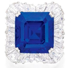 Lot 458 - Exceptional Kashmir Sapphire and Diamond Ring
