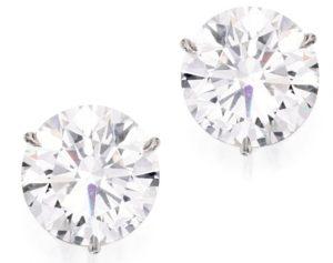 Lot 206 - Important Pair of Platinum and Diamond Earstuds