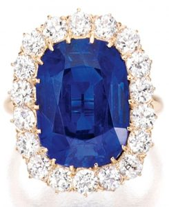 Lot 383 - 12.71-carat Kashmir Sapphire and Diamond Cluster Ring - by Tiffany & Co.