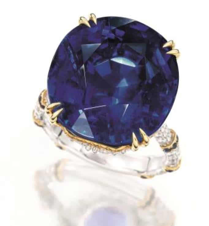 30.91-carat, natural, unheated Burmese sapphire and diamond ring