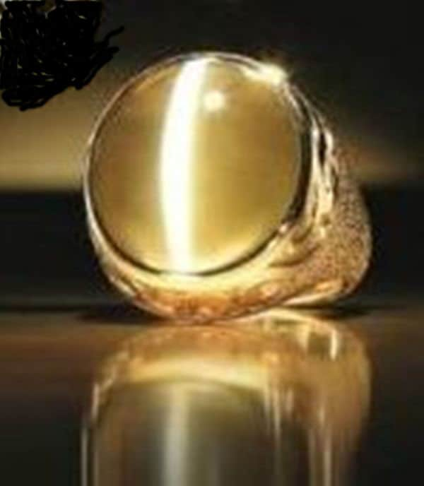 77.01-carat, natural, untreated, Sri Lanka Catseye Chrysoberyl Double Dragon Ring