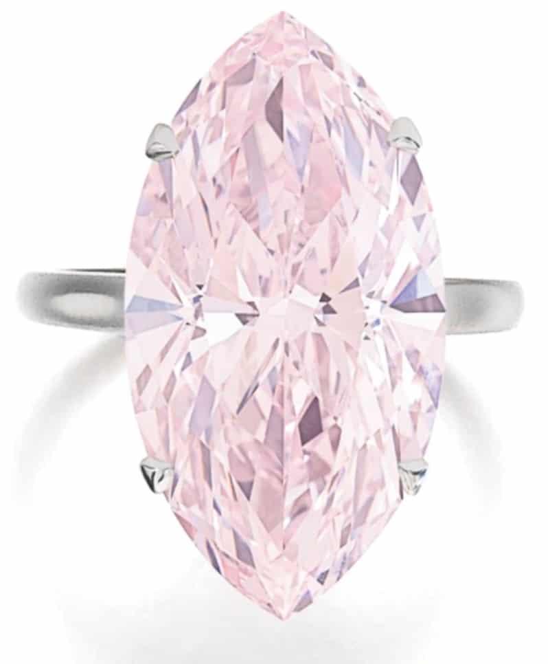 Lot 522 - 12.07-carat, marquise-shaped, internally flawless, fancy pink diamond