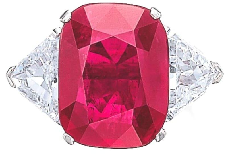 Lot 461 - 12.46-carat, cushion-shaped, Mogok ruby ring